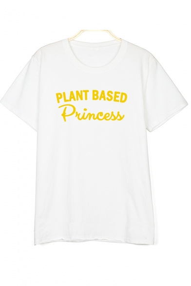 Letter PLANT Round Short Printed Sleeve Neck Tee BASES 5PqprPHwxT