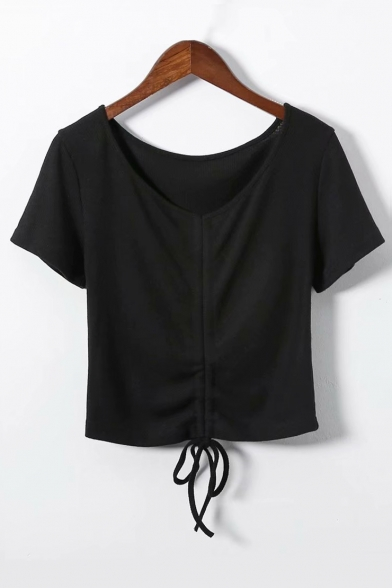 Plain Sleeve V Hem Crop Short Drawstring Tee Neck q1xwxBXv