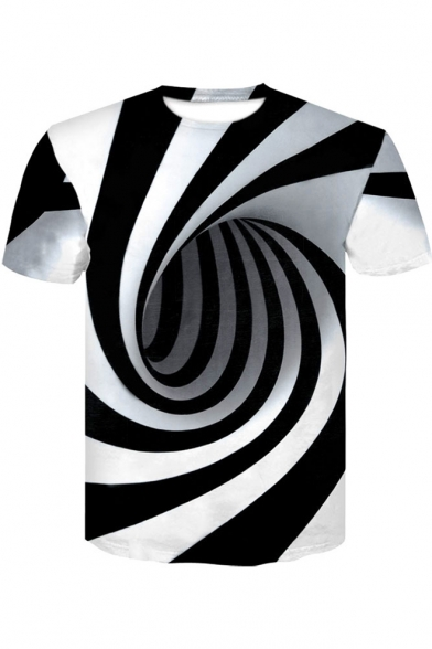 3D Vertigo Printed Short Sleeve Round White Tee Black Neck Hypnotic And qqRp1