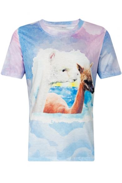 Alpaca Cloud Printed Round Neck Short Sleeve Tee