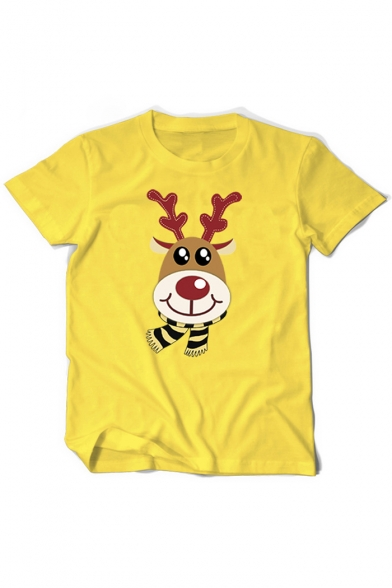 Scarf Deer Short Cartoon Sleeve Tee Neck Round Printed dvwxxUA6qS