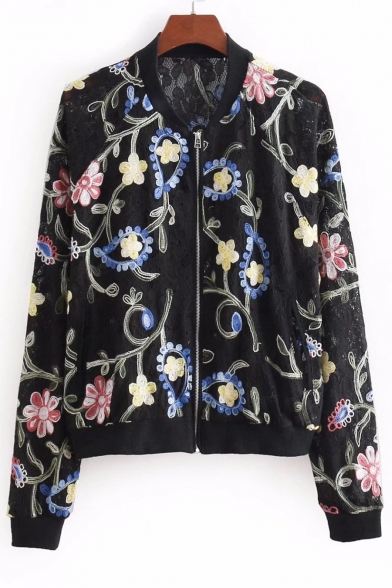 Floral Embroidered Lace Stand Up Collar Long Sleeve Zip Up Baseball Jacket