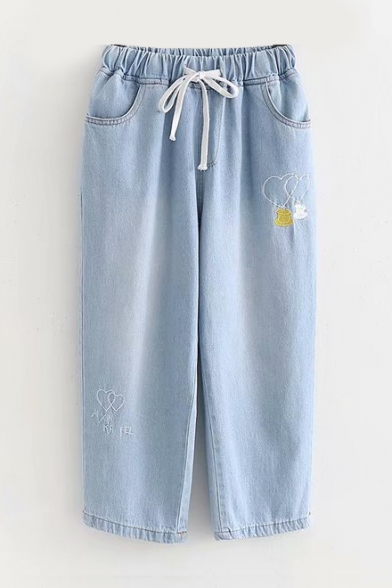 Heart Coffee Embroidered Drawstring Waist Crop Jeans