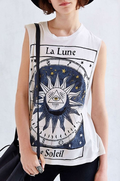 Round Eye Printed Sleeveless Tank Neck Sun Letter Triangle wI6Pnavxq7