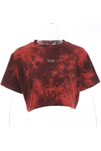 Sleeve Neck Short Letter Printed LINK Round Tee Crop qF4OxR