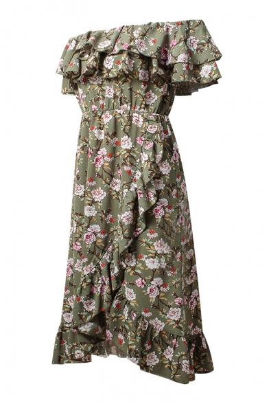 Ruffle Detail Floral Printed Off The Shoulder Short Sleeve Midi Asymmetric Dress