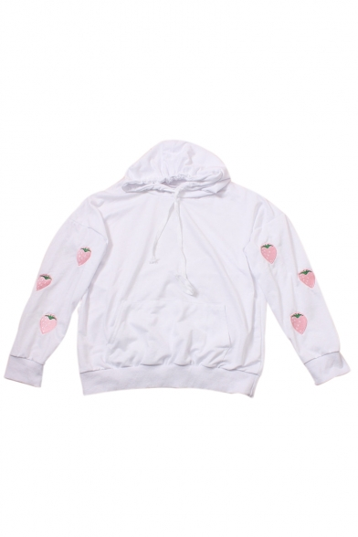 Sleeve Sleeve Long Long Sleeve Long Embroidered Strawberry Embroidered Strawberry Embroidered Hoodie Hoodie Strawberry 5FxOaIaqn