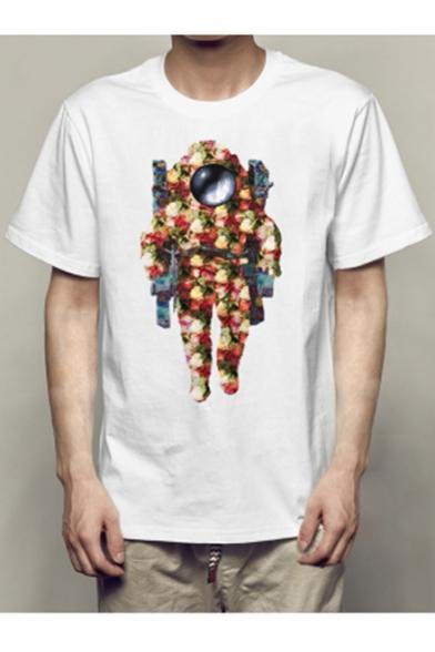 Short Tee Round Sleeve Neck Printed Astronaut wgvtn8