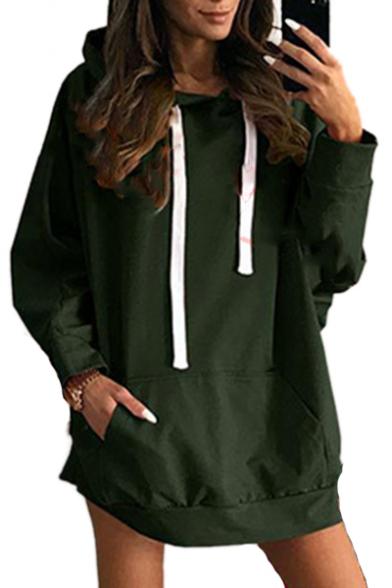 Tunic Hoodie Plain Sleeve Chic Long vnpqCw4xnt