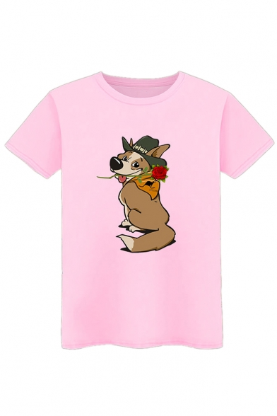 Round Dog Short Cute Neck Printed Rose Tee Sleeve zwPTq