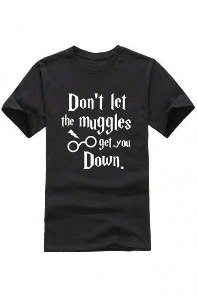 DON'T LET THE MUGGLES Letter Printed Round Neck Short Sleeve Tee, Black;burgundy;green;orange;pink;red;royal blue;white;gray;light blue;purple;yellow;navy, LC473356