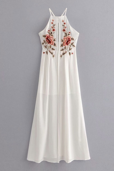 Floral Embroidered Hollow Out Crisscross Back Sleeveless Split Front Maxi Cami Dress