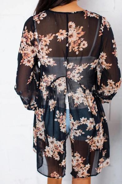 Long Back Split Sleeve Printed Kimono Floral 8UvWSS