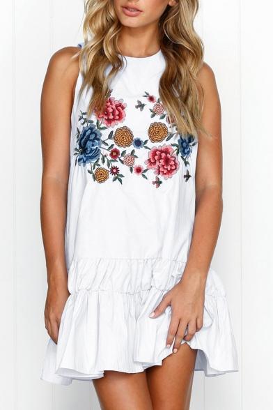 Floral Printed Sleeveless Ruffle Hem Mini A-Line Dress