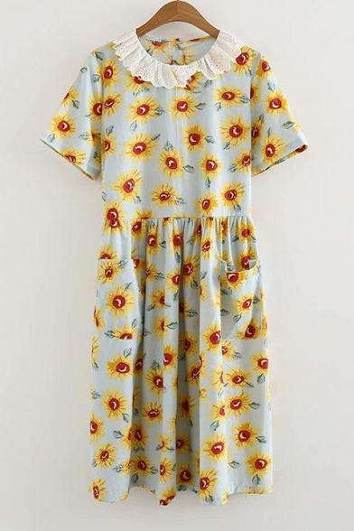 Lace Insert Doll Collar Sun Flower Printed Short Sleeve Midi A-Line Dress