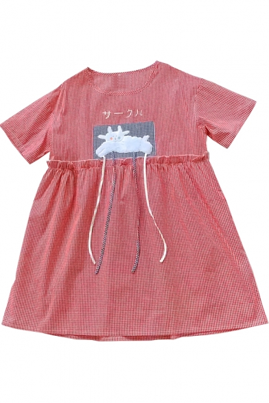 Plaid Smock Neck Animal Sleeve Round Dress Mini Printed Short Applique Japanese Lovely Xpvn8d68