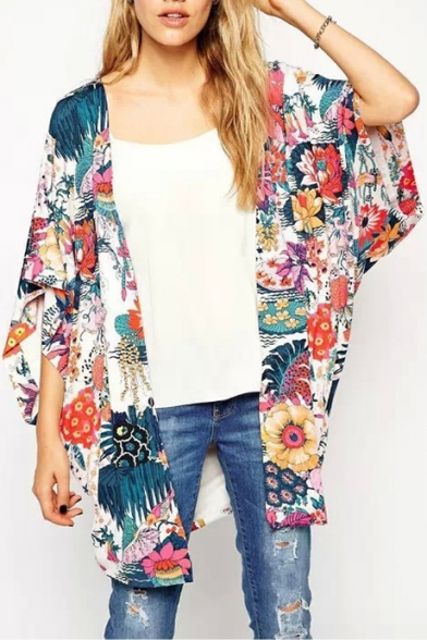 Arrival New Sleeve Batwing Printed Floral Chiffon Kimono 0xg1w