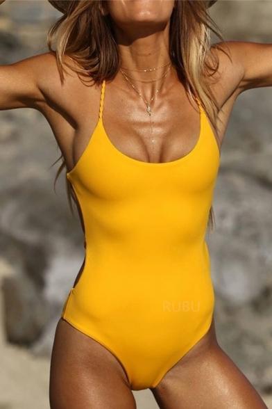 Sexy Braid Crisscross Open Back Sleeveless Plain One Piece Swimwear