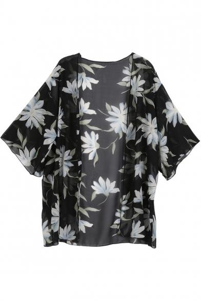3/4 Length Sleeve Floral Printed Collarless Kimono