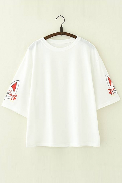 Round Printed Neck 4 Tee 3 Fox Length Sleeve YqXwIOS