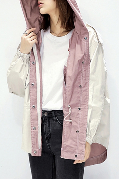 Chic Loose Long Sleeve Zip Up Hooded Tunic Dust Coat