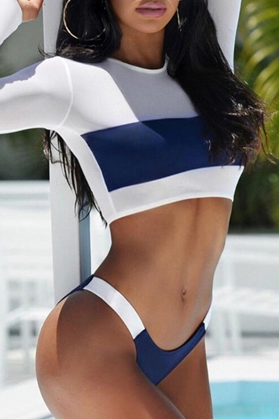 Color Block Round Neck Long Sleeve Crop Top Bikini