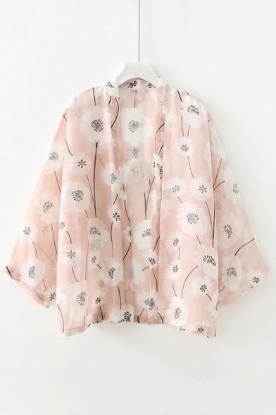 Floral Printed Collarless 3/4 Length Sleeve Kimono