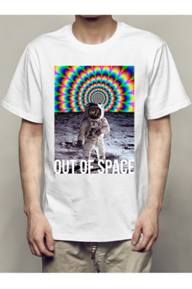 OUT Astronaut Printed SPACE Round Sleeve OF Letter Neck Short Tee qrwTxnq6RF
