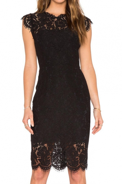Round Lace Midi Sleeve Plain Short Pencil Dress Neck ORTOxfq6