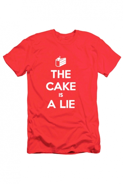 THE CAKE IS A LIE Letter Cake Printed Round Neck Short Sleeve Tee