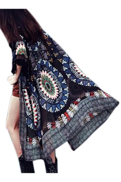 Embellished Kimono Tunic Coat Sleeve Printed Long Tassel Tribal AxIUvwPSqI