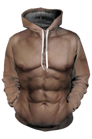 Sleeve Loose Printed 3D Hoodie Long Muscle pwA8Oxxq40