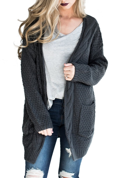Collarless Cardigan Plain Cable Tunic Long Knit Sleeve gfnxq6B