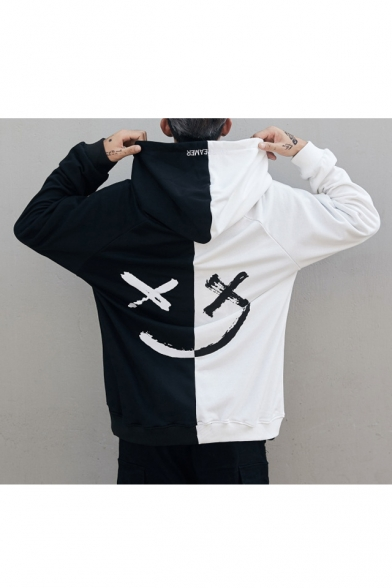 Color Block Smile Face Printed Round Neck Long Sleeve Hoodie