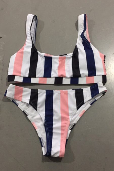 Color Block Striped Printed Round Neck Sleeveless Bikini
