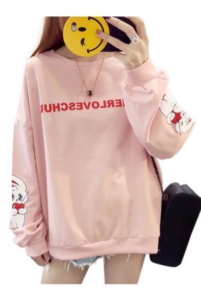 Cute Cartoon Dog Letter Printed Round Neck Long Sleeve Sweatshirt
