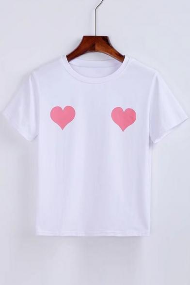 Sleeve Short Round Neck Heart Tee Printed BFIwnY