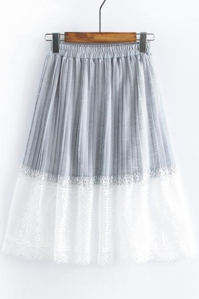 Lace Insert Elastic Waist Midi A-Line Skirt