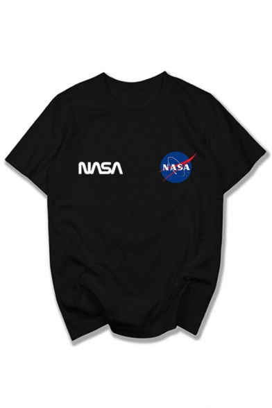 Leisure Tee Sleeve Graphic Round Letter Neck Short NASA Printed 8qrUw8a