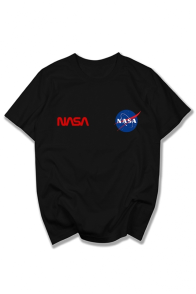 Round Short Letter Tee Printed Graphic Neck Sleeve Leisure NASA FA4pnt