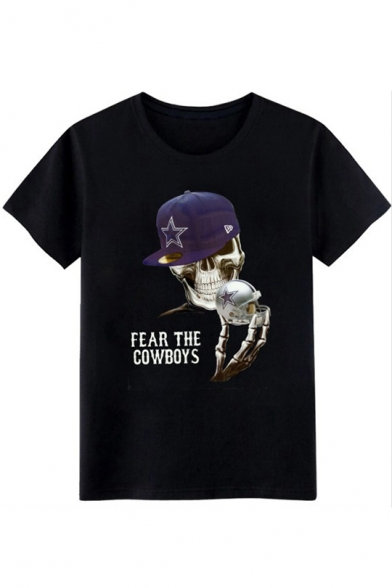 Skull FEAR THE COWBOYS Letter Printed Round Neck Short Sleeve Tee
