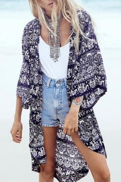 Trendy Tribal Printed 3/4 Length Sleeve Tunic Kimono