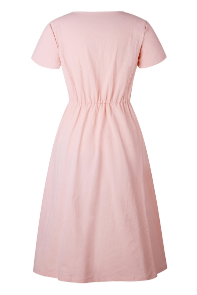 Short Plain Sleeve Dress V A Down Buttons Midi Line Neck fwqTFxZ