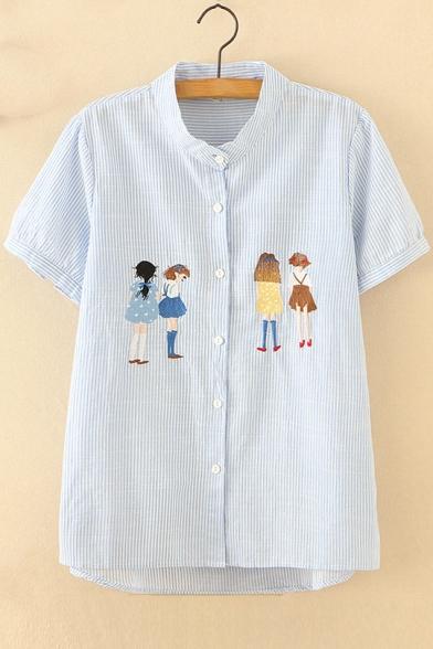 Collar Buttons Stand Embroidered Sleeve Striped Girl Down Short Cartoon Shirt Up Ex1AIqYcIw