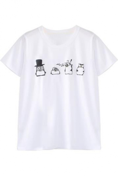 Sleeve Round Penguin Neck Tee Cartoon Short Printed wBAqPW