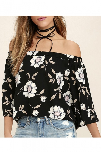Sleeve Blouse The Printed Length 4 Chic Shoulder Floral Off 3 87zfq
