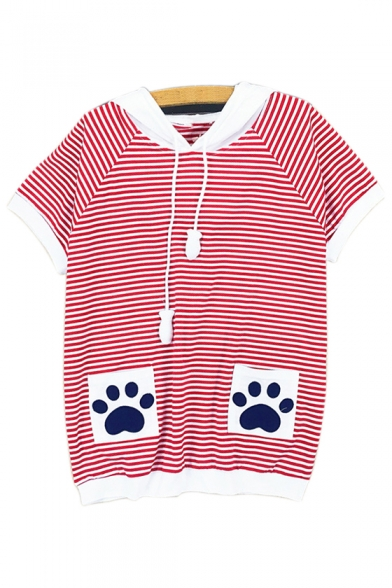 Color Striped Embroidered Pocket Tee Block Printed Sleeve Paw Short 5rwHS5qXIx