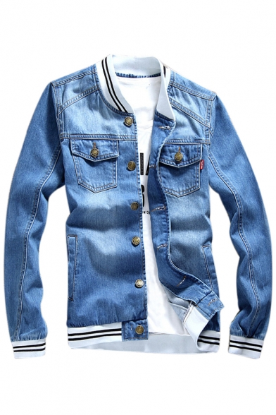 Buttons Striped Contrast Long Denim Down Sleeve Jacket Collar Stand Trim Up AqnfBZq
