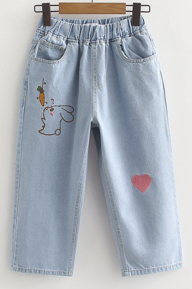 Elastic Waist Rabbit Heart Embroidered Crop Jeans