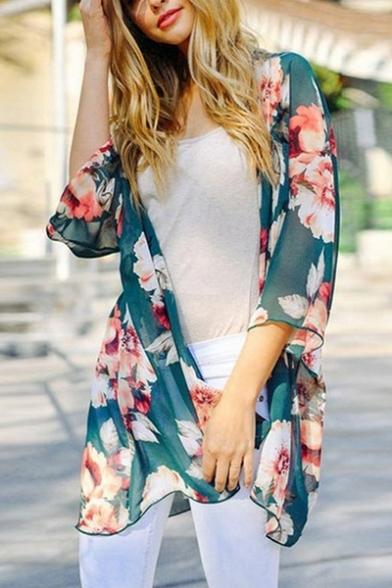 Tunic Kimono Chiffon Floral Half Sleeve Printed XxtOFt